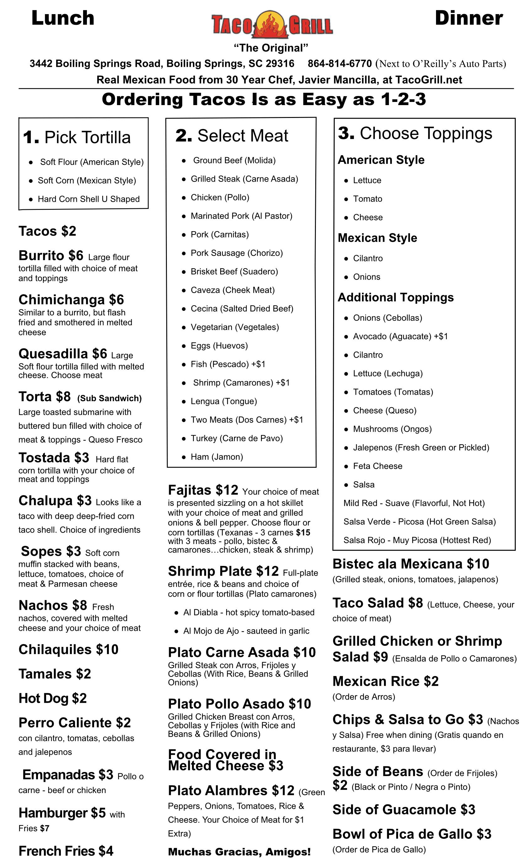Taco Grill Menu