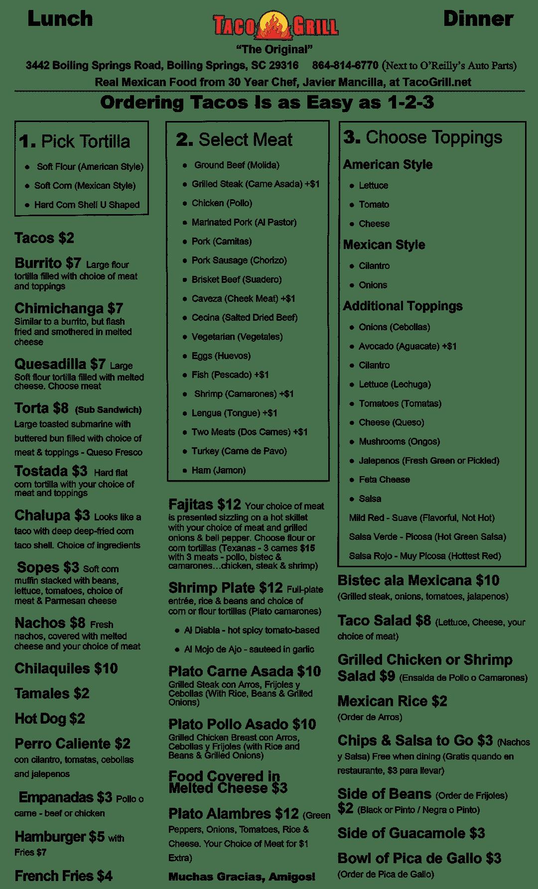 Taco Grill Menu May 15 2020
