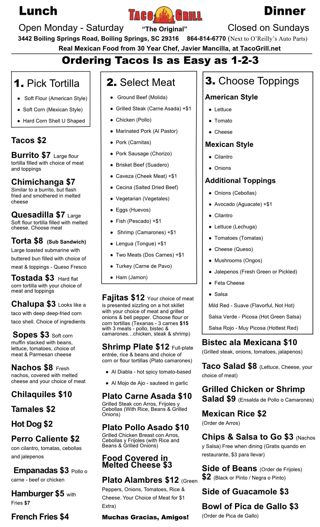 Taco-Grill-Menu 2020 Fall Winter