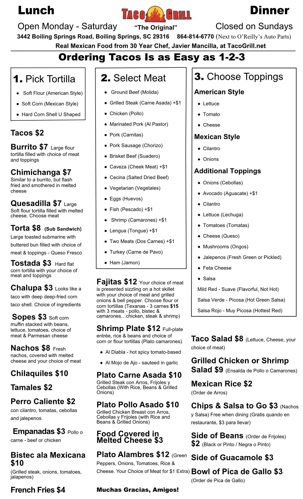 Taco Grill Menu Boiling Springs SC